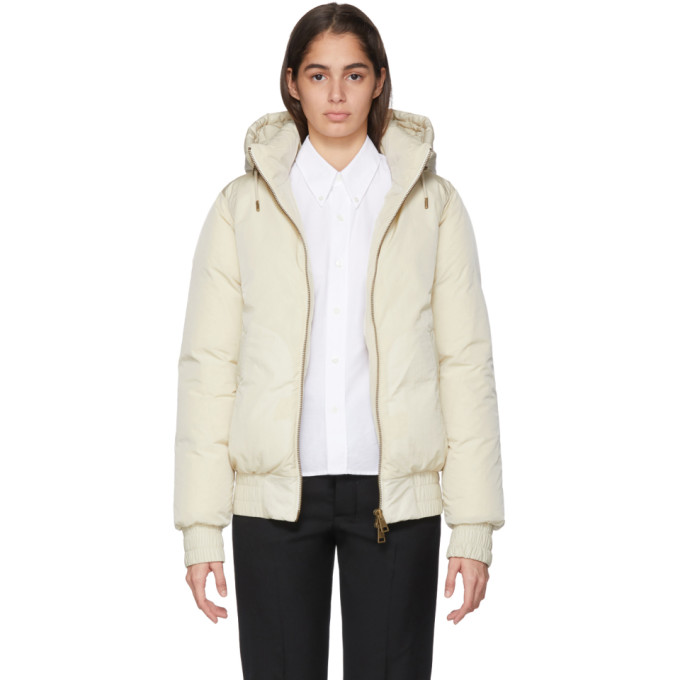 AMI | AMI Alexandre Mattiussi Off-White Down Hooded Jacket | Clouty