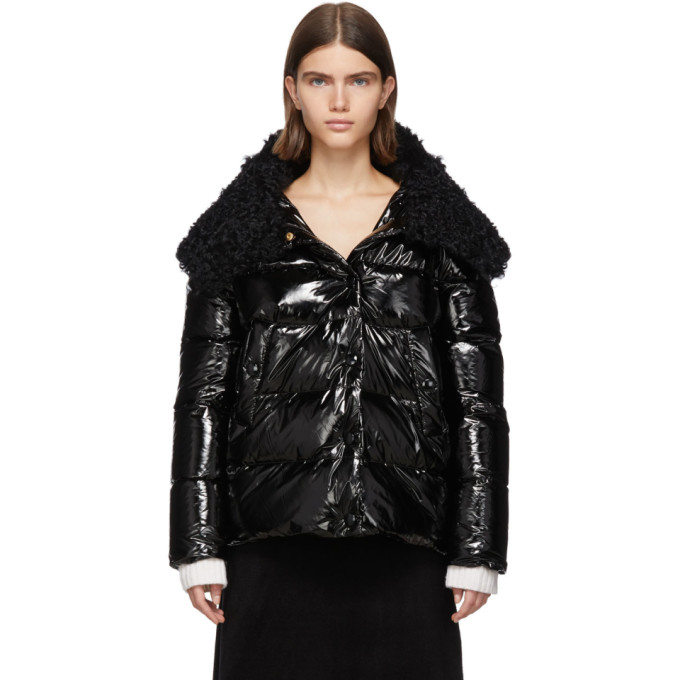 Yves Salomon | Yves Salomon Black Down and Wool Fur Jacket | Clouty