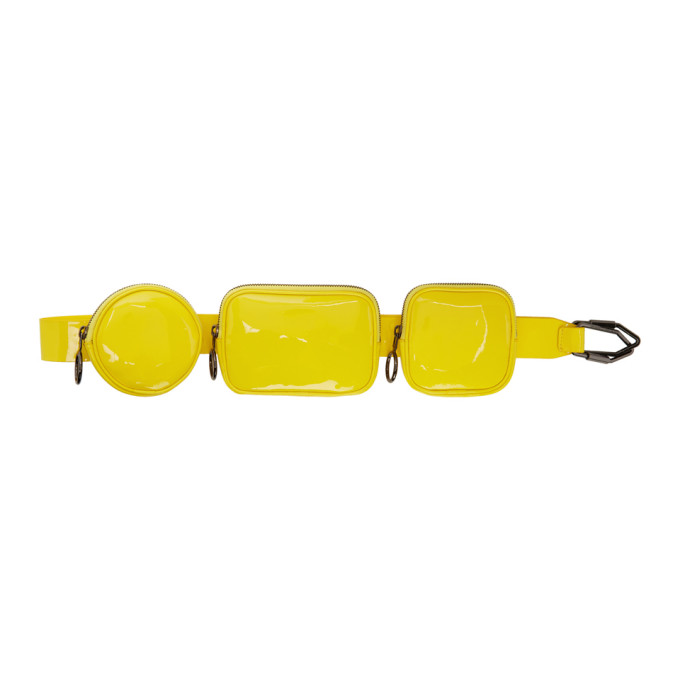 Off-White   Off-White Yellow Patent Shoulder Pouch   Clouty