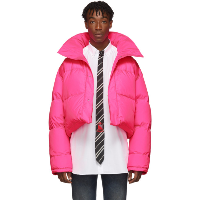 VETEMENTS | VETEMENTS Reversible and Convertible Pink Down Fluorescent Puffer Jacket | Clouty