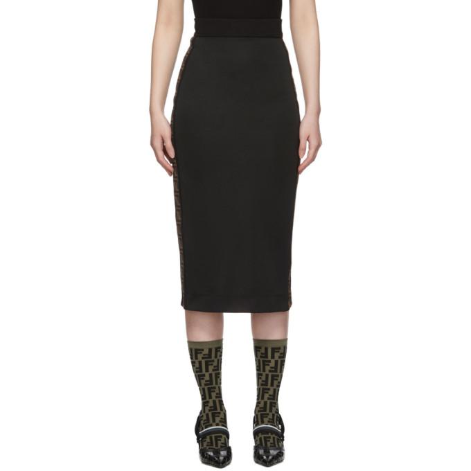FENDI | Fendi Black Logo Band Pencil Skirt | Clouty