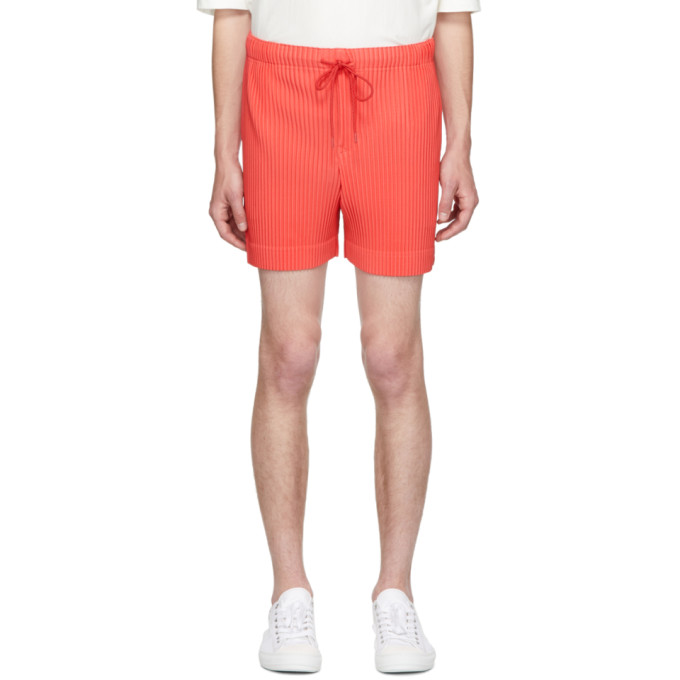 ISSEY MIYAKE | Homme Plisse Issey Miyake Red Colorful Pleat Shorts | Clouty