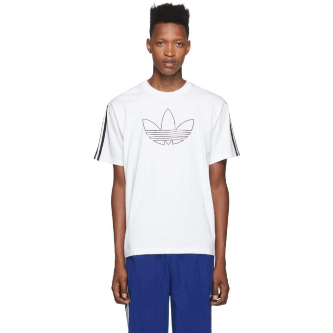 adidas Originals   adidas Originals White Outline Trefoil T-Shirt   Clouty