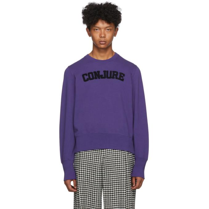 Wales Bonner | Wales Bonner Purple Conjure Varsity Sweatshirt | Clouty