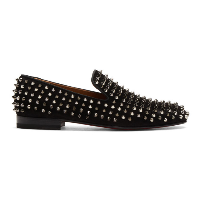 Christian Louboutin | Christian Louboutin Black Suede Dandelion Spikes Loafers | Clouty