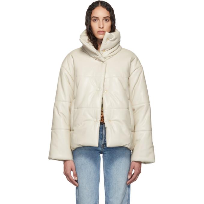 Nanushka   Nanushka Beige Vegan Leather Hide Puffer Jacket   Clouty