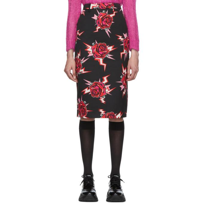 PRADA | Prada Black Broken Roses Pencil Skirt | Clouty