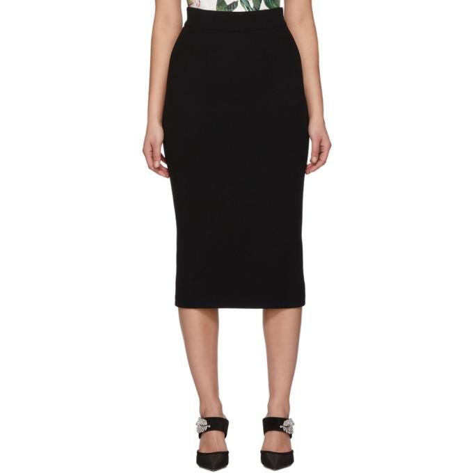 Dolce & Gabbana   Dolce and Gabbana Black Wool Straight Mid Skirt   Clouty