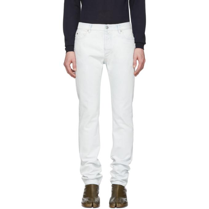 Maison Margiela | Maison Margiela Blue and White Super Bleach 80s Jeans | Clouty