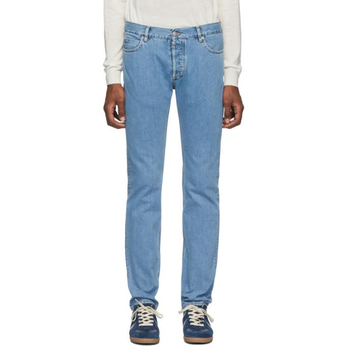 Maison Margiela | Maison Margiela Blue Stonewashed Slim-Fit Jeans | Clouty