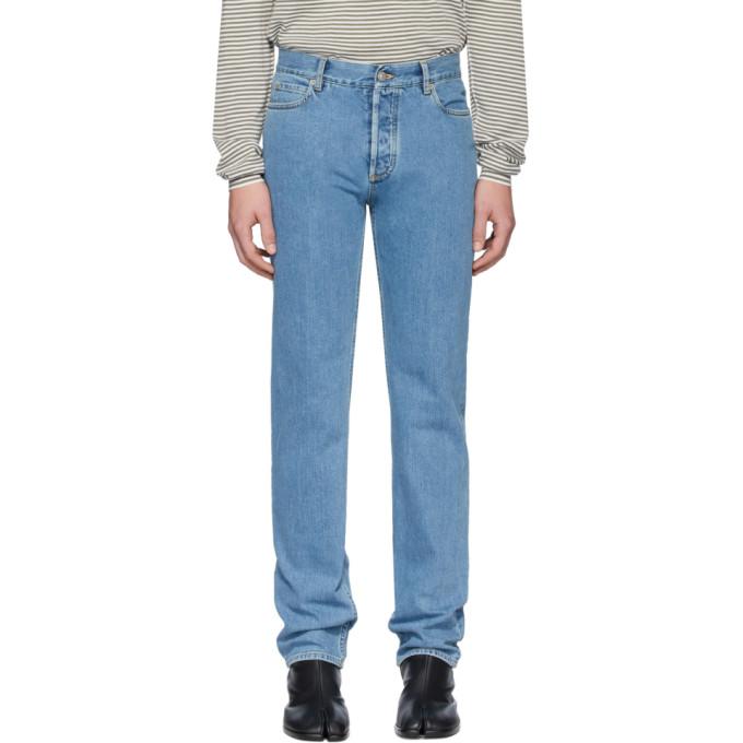 Maison Margiela   Maison Margiela Blue Stonewash Regular-Fit Jeans   Clouty