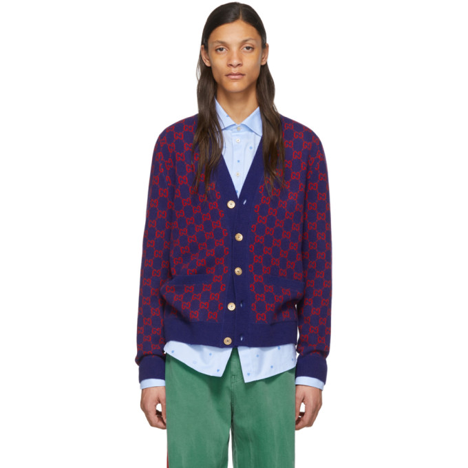 GUCCI | Gucci Blue and Red GG Cardigan | Clouty