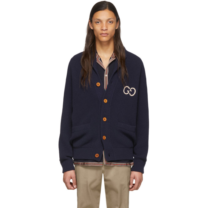 GUCCI | Gucci Navy Wool Cardigan | Clouty