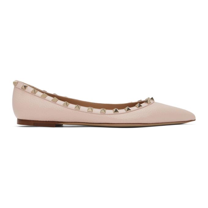 VALENTINO | Valentino Pink Valentino Garavani Rockstud Ballerina Flats | Clouty