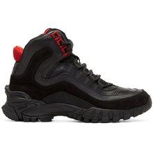 Фото Versace Black and Red Greek Key Formal High-Top Sneakers