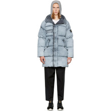 Stone Island Grey Down Long Puffy Hooded Jacket