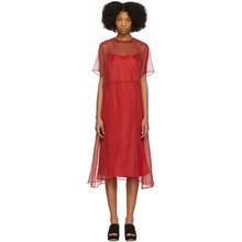 Mansur Gavriel Red Chiffon Voluminous Dress