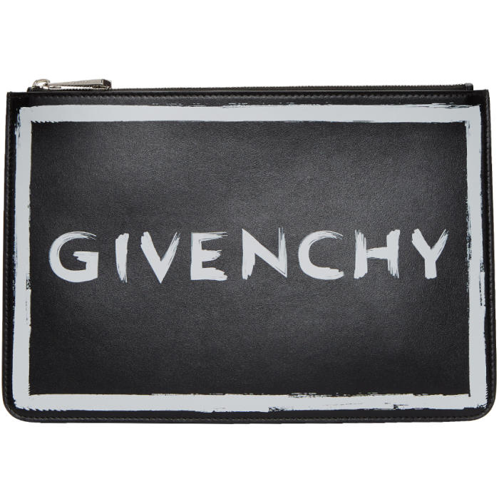 GIVENCHY   Givenchy Black Medium Graffiti Pouch   Clouty
