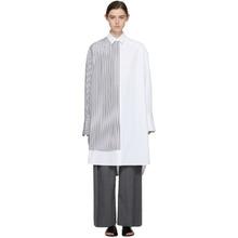 Фото Juun.J White and Black Double Layer Pinstripe Long Shirt