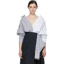Juun.J Black and White Convertible Double Layer Pinstripe Long Shirt