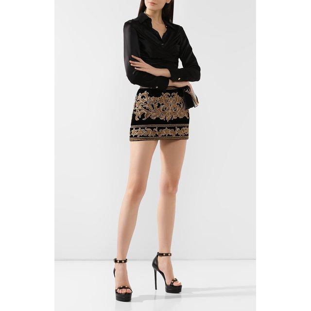 Versace | Чёрный Кожаные босоножки Versace | Clouty