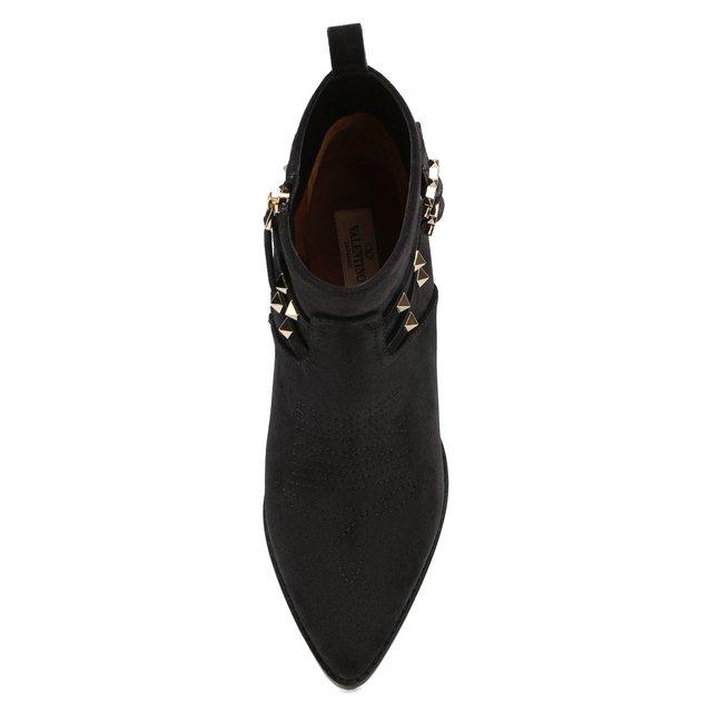 VALENTINO   Чёрный Замшевые ботинки Valentino Garavani Rockstud   Clouty