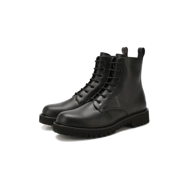 VALENTINO | Чёрный Кожаные ботинки Valentino Garavani VLTN | Clouty