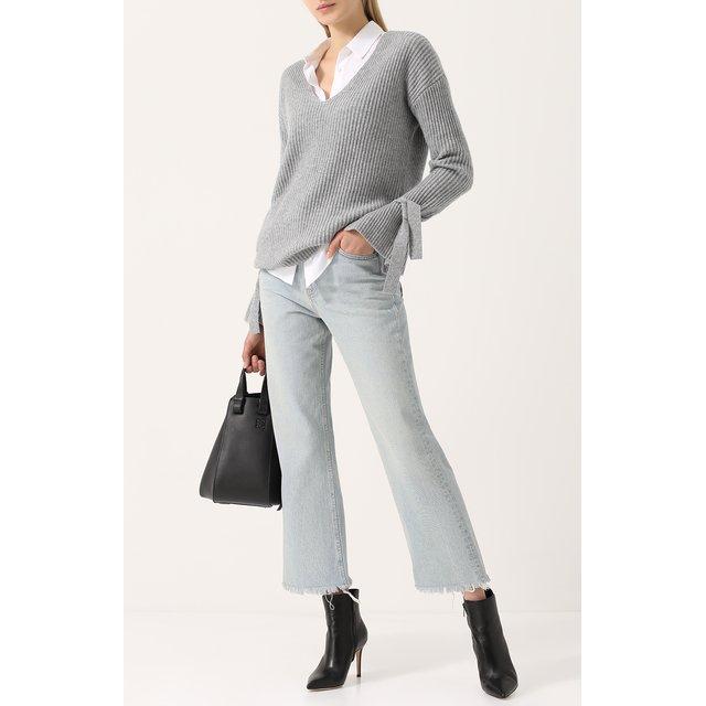 FTC   Серый Кашемировый пуловер фактурной вязки с V-образным вырезом FTC   Clouty
