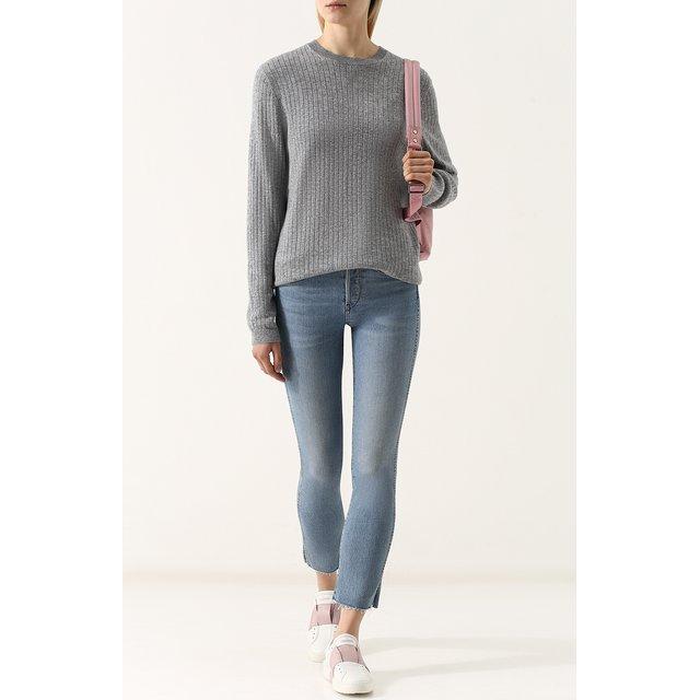 FTC | Серый Однотонный кашемировый пуловер фактурной вязки FTC | Clouty