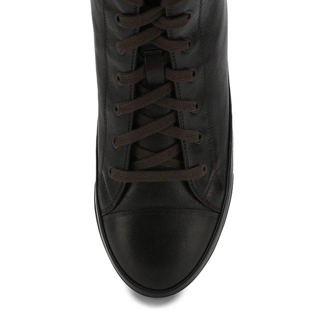 Brioni   Коричневый Высокие кожаные кеды на шнуровке с внутренней меховой отделкой Brioni   Clouty