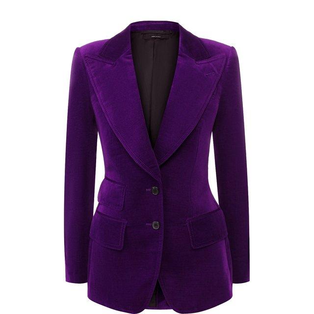Tom Ford | Фиолетовый Приталенный бархатный жакет Tom Ford | Clouty