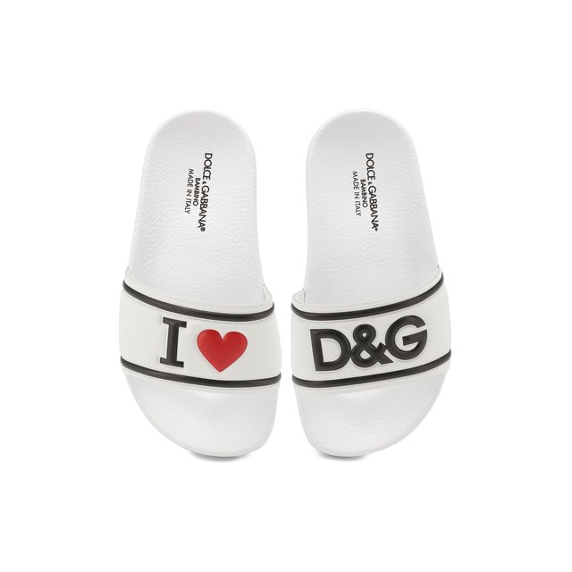 Dolce & Gabbana   Чёрно-белый Шлепанцы с кожаной отделкой Dolce & Gabbana   Clouty