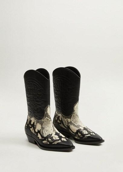 MANGO | Ковбойские ботинки из кожи - Dalton | Clouty