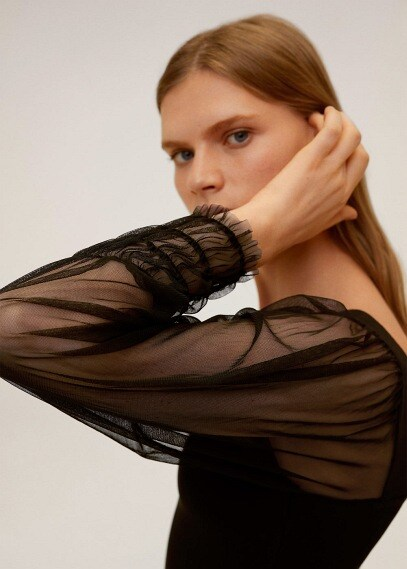MANGO | Платье с рукавами из органзы - Jazzy | Clouty