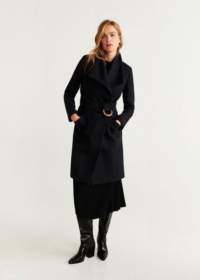 MANGO | Полушерстяное пальто с поясом - Venus5 | Clouty