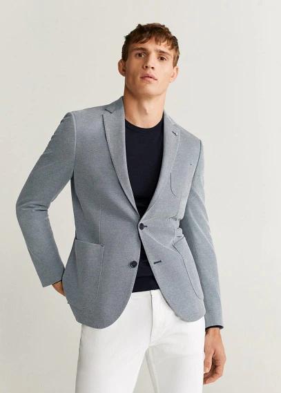 MANGO   Структурный пиджак slim fit из хлопка - Sanday   Clouty