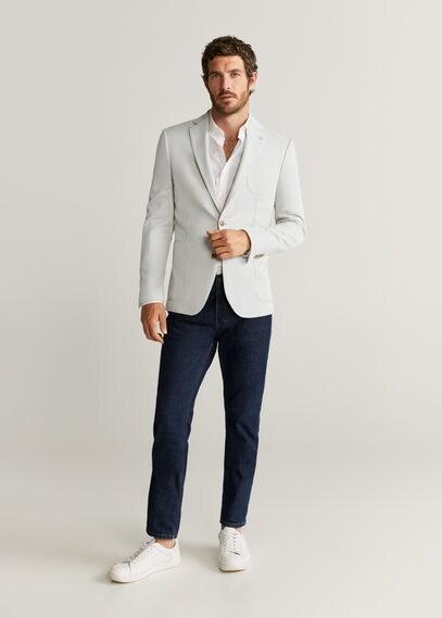 MANGO | Структурный пиджак slim fit из хлопка - Sanday | Clouty