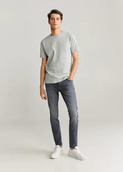 MANGO | Хлопковая футболка с фактурной вставкой - Elliot | Clouty