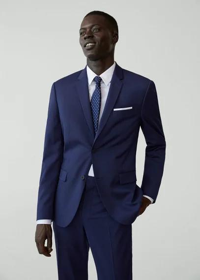 MANGO | Костюмный пиджак super slim fit с мелкой фактурной выделкой - Paulo | Clouty