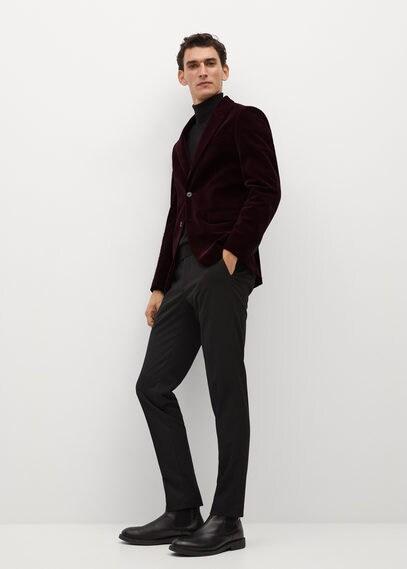 MANGO | Костюмный пиджак slim fit из бархата - Velvet-i | Clouty