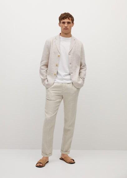 MANGO | Пиджак slim fit 100% лен - Bisleva | Clouty