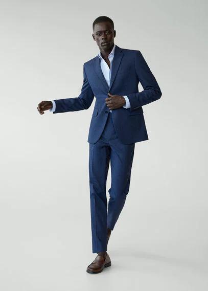 MANGO | Костюмный пиджак slim fit с мелкой фактурной выделкой - Brasilia | Clouty