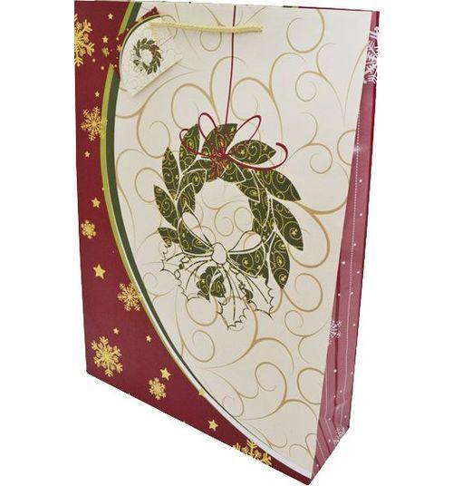 Winter Wings | Пакеты подарочные Winter Wings бумажные ламинированные с тиснением, 33 x 46 x 10 см | Clouty