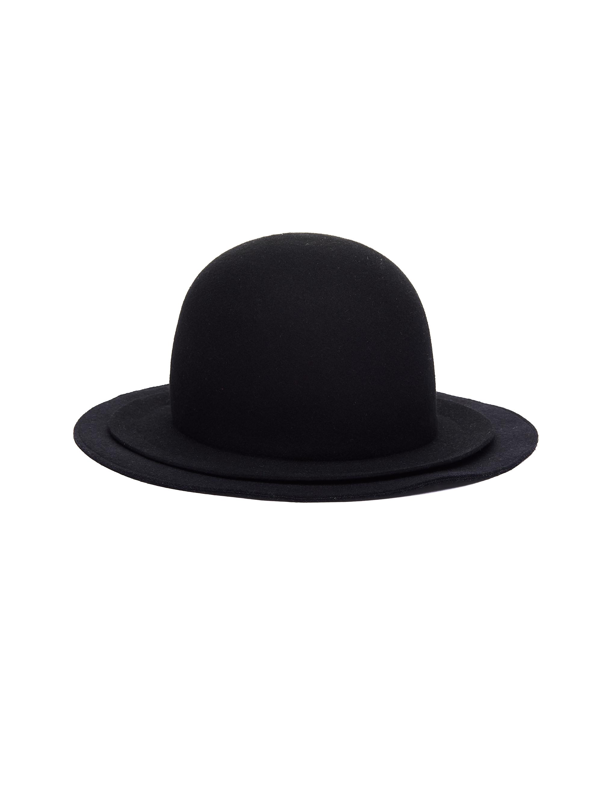 YOHJI YAMAMOTO | Черная шляпа из шерсти с двойными полями | Clouty